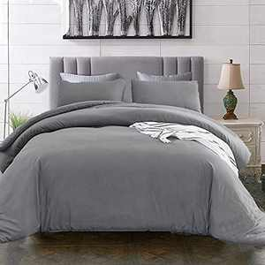 Luxlovery Grey Comforter Queen Set Dark Grey Bedding Comforter Sets Full Solid Gray Bedding Set Breathable Soft Gray Quilts Set Queen Comforter Set with 2 Pillowcases