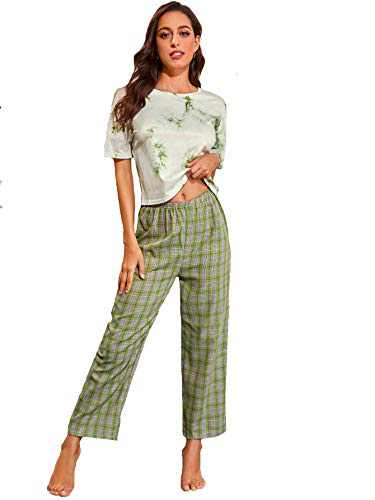 DIDK Women's Tie Dye Round Neck Short Sleeve Tee and Plaid Pants Pajama Set Green XL