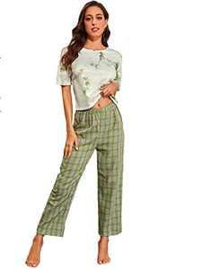 DIDK Women's Tie Dye Round Neck Short Sleeve Tee and Plaid Pants Pajama Set Green XL