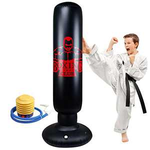Punching Bag for Kids, Locsee Inflatable Freestanding Bop Bag for Adults Kids Fitness Boxing Target Bag with Stand, Training Kickboxing Equipment (63 inch)