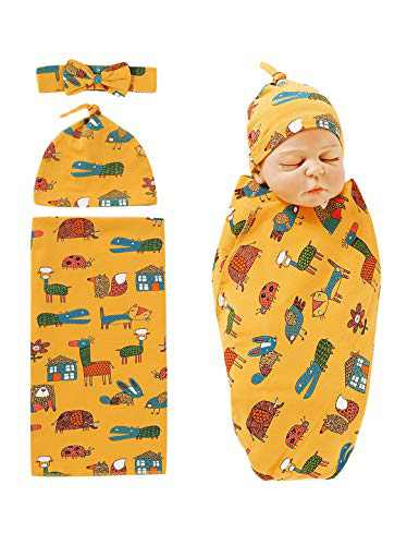 Dramiposs Baby Girl Swaddle Blanket Set Newborn Receiving Blanket with Hat and Headband (Yellow02,0-6 Months)