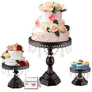 Weharnar -8 inch / 10 inch / 12 inch 3-Piece Cake Stand Set Square Base Dessert Display Cake Stand with Smooth Crystal Pendant on The Side for Baby Shower, Wedding Birthday Party Celebration(Bronze