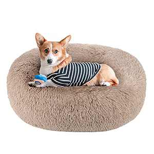 Akarden Dog Bed Cat Bed Donut, Pet Bed Fluffy Faux Fur Cuddler Round Comfortable for Small Medium Large Dog Bed Self Warming Indoor Sleeping Bed