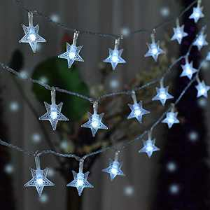 Star String Lights, 50 LED Fairy String Lights Waterproof for Indoor, Outdoor, Wedding, Party, Christmas, Garden Decoration (White)