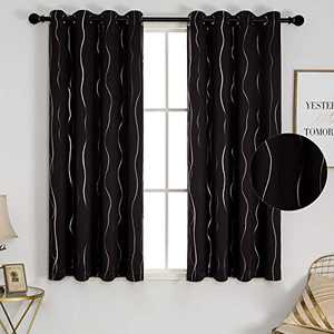 """PU MEI Foil Print Blackout Curtains Wave Lined Thermal Insulated Window Drapes with Grommets,1Pair,52"""" 63"""",Black"""