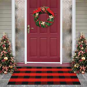 MUBIN Cotton Buffalo Plaid Rug Black /Red Check Rugs 27.5 x 43 Inches Hand-Woven Indoor or Outdoor Rugs for Layered Door Mats Washable Carpet for Front Porch/Kitchen/Farmhouse /Entryway
