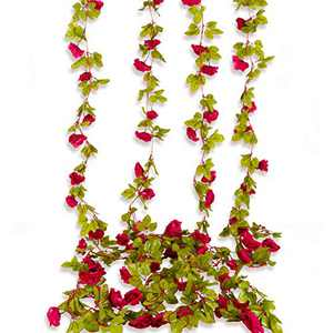 Beferr 4Pcs Artificial Rose Garlands Fake Silk Flowers Hanging Roses Vines for Wedding Home Office Arch Arrangement Decor (Red)