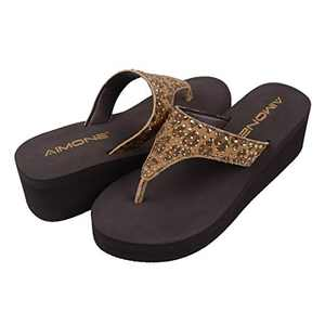 AIMONE Womens Platform Sandals Brown Leopard Print Rhinestone Mid Heel Yoga Mat Flip Flops Arch Support Walking Thong Beach Shoes(Brown, 8.5 M US)