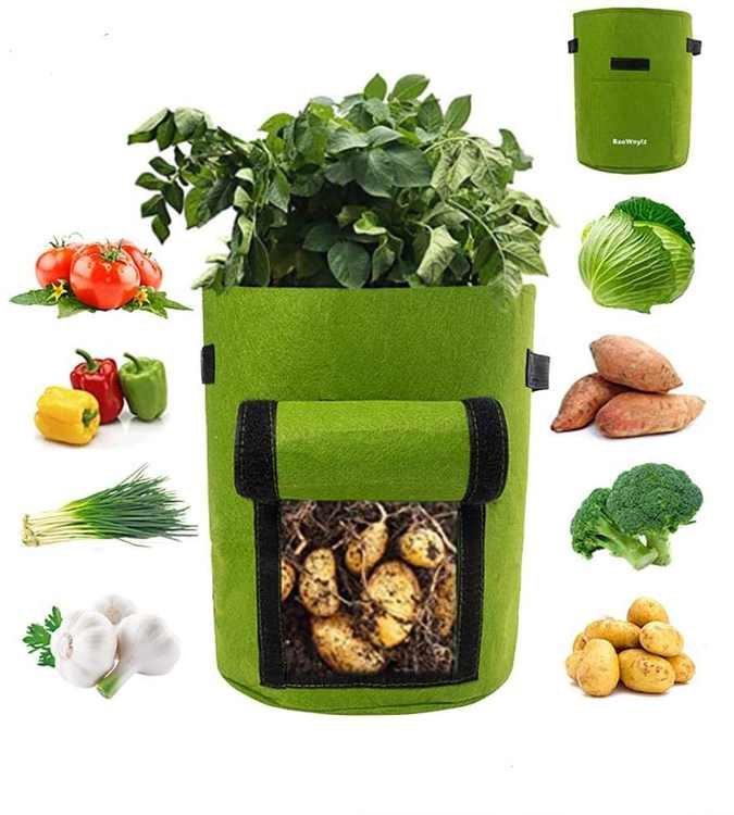 Potato Grow Bags 10 Gallon, 2 Pack Vegetable Growing Bags with Small Drainage Holes, Visualized Window, Plant Grow Bags for Garden/Potato/Strawberry/Tomatoes/Carrot(Green)