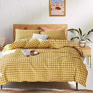 Luxlovery Yellow Duvet Cover Set Queen Grid 3 Piece Bedding Sets Checkered Gingham 100% Cotton Bedding Cover Sets with 2 Pillowcases for Teens Girls Boys Adults Kids