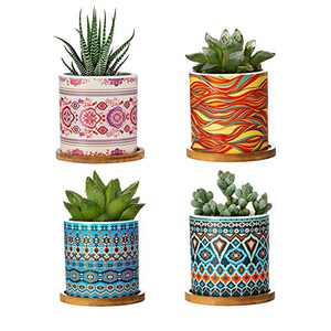 Succulent Pots - 3 Inch Cylindrical Bohemian Mandalas Ceramic Planter for Cactus, Succulent Planting, with Drainage Hole, Bamboo Trays, Set of 4