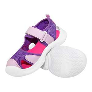 V.Step Kids Sandals, Bump Toe Sandals for Girls Boys Toddler, Lightweight Outdoor Shoes with Breathable Mesh Waterproof Sole, Pink, 11