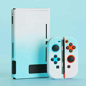 Campatible Protective case for Nintendo Switch Dockable Shell Case Cover Case Switch Handheld Grip Nintendo Switch Case Protector (Blue&White)