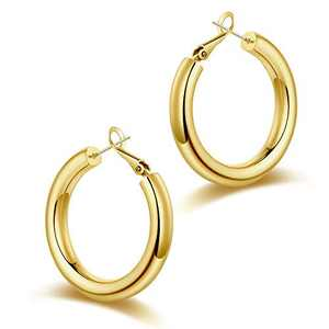 Chunky Gold Hoop Earrings for Women, S925 Sterling Silver Post 14K Gold Plated Thick Tube Lightweight 40mm Hoops Earrings