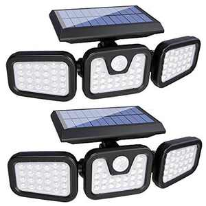Solar Lights Outdoor,3 Adjustable Heads 74 LED Solar Security Lights,Security Floods Lights with Motion Sensor,270°Wide Angle Illumination,IP65 Waterproof for Garden, Patio,Yard,Porch,Garage Pathway