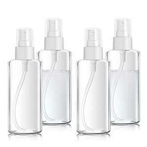 4 Pack Spray Bottles 3.38oz/100ml Empty Clear Bottle Mini Reusable Plastic Travel Bottles Refillable Container Mist Bottles for Essential Oil, Perfume,Makeup Cosmetic