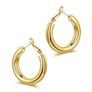 Chunky Gold Hoop Earrings for Women, S925 Sterling Silver Post 14K Gold Plated 25mm Small Thick Tube Lightweight Hoops Earrings
