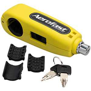 Motorcycle Throttle Handlebar Lock by Aerofast. Best Heavy Duty, Anti-Theft Portable Lock for your Motorbike/ATV/Dirt Bike and Scooter - (Yellow)