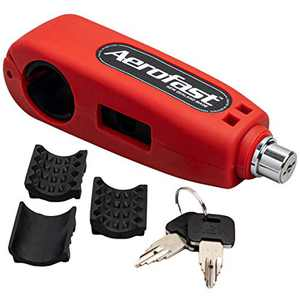 Motorcycle Throttle Handlebar Lock by Aerofast. Best Heavy Duty, Anti-Theft Portable Lock for your Motorbike/ATV/Dirt Bike and Scooter - (Red)