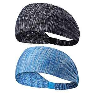 2 Pack Yoga Sport Athletic Headband for Women and Men,Elastic Non-Slip Lightweight for Running Sports Travel Fitness Elastic Wicking Workout
