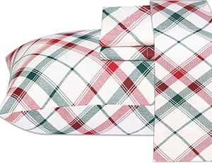 Ruvanti 100% Cotton 3 Pcs Flannel Sheets Twin, Red & Green Cross Plaid, Deep Pocket-Warm-Super Soft-Breathable Moisture Wicking Flannel Kids Bedding Set Include Flat Sheet, Fitted Sheet 1 Pillowcase