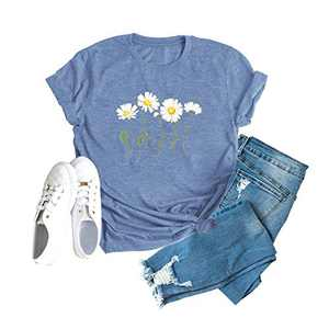 Womens Daisy Graphic T-Shirt Cute Wild Flower Print Summer Short Sleeve Casual Tees Tops Blue