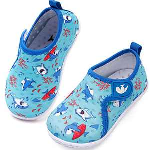 JIASUQI Quick Dry Athletic Pool Water Shoes Socks for Baby Boys Girls Dolphin Blue 2-2.5 Years
