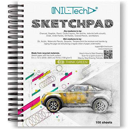 NIL TECH 9x12 Inches 100 Sheets White Sketch Book (68 lb/100gsm) Fine Tooth Spiral Bound Drawing Paper Pad for Kids and Adults