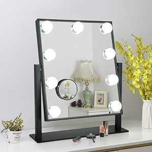 Hollywood Vanity Mirror Lighted Makeup Mirror,Tabletop Mirror with 12pc Dimmable LED Lights,3 Color Mode (Dark Black, Medium)