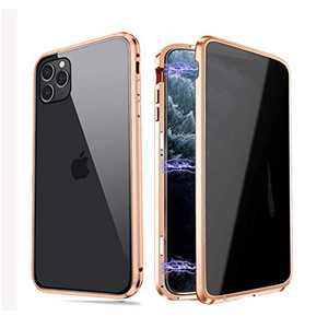 Privacy Magnetic Case Fits for iPhone XR, [Anti Peeping][Magnet Absorption Metal Bumper Frame] Clear Double Sided Tempered Glass 360 Full Protective Anti-spy Phone Case for iPhone XR, Gold