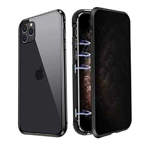 Privacy Magnetic Cases for iPhone SE 2020/iPhone 7/8, Anti Peeping Clear Double Sided Tempered Glass [Magnet Absorption Metal Bumper Frame] Anti-spy Phone Case for iPhone SE 2020/iPhone 7/8, Black
