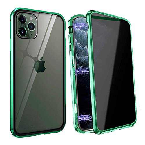 Privacy Magnetic Case Fits for iPhone X/XS, [Anti Peeping][Magnet Absorption Metal Bumper Frame] Clear Double Sided Tempered Glass 360 Full Protective Anti-spy Phone Case for iPhone X/XS, Green