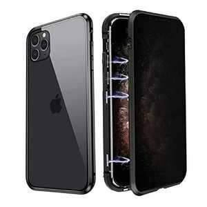Privacy Magnetic Case Fits for iPhone X/XS, [Anti Peeping][Magnet Absorption Metal Bumper Frame] Clear Double Sided Tempered Glass 360 Full Protective Anti-spy Phone Case for iPhone X/XS, Black