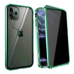 Privacy Magnetic Case Fits for iPhone XR, [Anti Peeping][Magnet Absorption Metal Bumper Frame] Clear Double Sided Tempered Glass 360 Full Protective Anti-spy Phone Case for iPhone XR, Green
