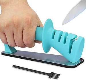 Knife Sharpener- 3-Stage Knife Sharpener Helps Repair,Restore and Polish Blades,Sharpens Dull Knives Fast,Safe and Easy to Use- Slot Cleaning Brush Included,Blue