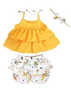 Baby Girls Summer Outfits Bow Halter Crop Tops Little Girls Flower Ruffles Short Set (Yellow01,12-18 Months)