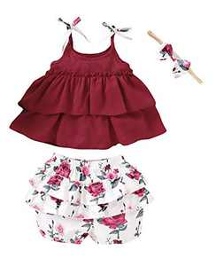 Baby Girls Summer Outfits Cami Top Little Girls Floral Ruffles Short Clothes Set (Red01,2-3 T)