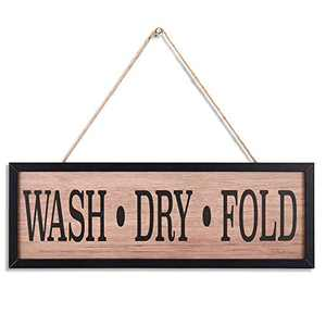 Rustic Wood Wall art Sign Board,WASH.DRY.FOLD Retro Vintage Slat Hanging Framed Wall Decorations,Home Wall Decor Gift for Living Room Bedroom Kitchen Dining Room Farmhouse Entryway Sign