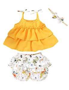 Kids Girls Summer Outfits Bow Halter Crop Tops Little Girls Flower Ruffles Short Set (Yellow01,4-5 T)