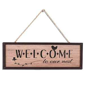 Rustic Wood Wall art Sign Board,WELCOME Retro Vintage Slat Hanging Framed Wall Decorations,Home Wall Decor Gift for Living Room Bedroom Kitchen Dining Room Farmhouse Entryway Sign