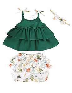 Baby Girls Summer Outfits Sling Top Little Girls Floral Ruffles Short Set (Green,2-3 T)
