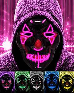 Nicexx Halloween Scary Purge Mask EL Wire LED Light Up 3 lighting Modes for Cosplay Party Festival (pink)