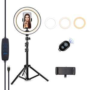"Letyet 10"" Selfie Ring Light with Tripod Stand and Phone Holder,for Live Stream/Makeup, 3-Mode 10-Level Dimmable Camera Ring Light for YouTube Video and TikTok, Compatible with iPhone and Android"