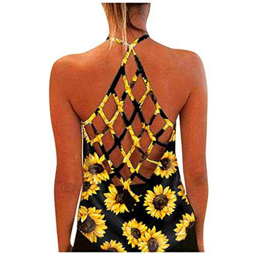 Women's Summer Backless Tank Tops O-Neck Sleeveless Print Casual T-Shirt Blouse Tops (M, Yellow-1)