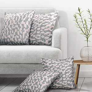 Deconovo Faux Linen Cushion Cover Set of 4 Loop Pattern Rectangle Throw Pillow Case with Invisible Zipper for Chair Case Only No Pillow Insert 12x20 Inch Grey
