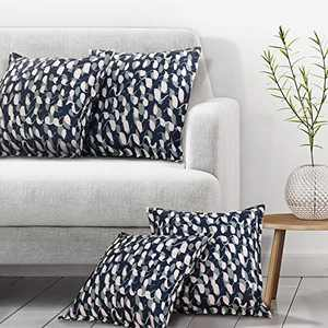Deconovo Throw Cushion Covers Print Loop Pattern Faux Linen Pillowcase for Living Room Couch Case Only No Pillow Insert 12x20 Inch Navy Blue Pack of 4