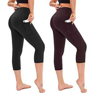 Opuntia Yoga Pants for Women with Pockets - 2 Pack High Waist Tummy Control Softy 4 Way Stretch Leggings for Workout Running