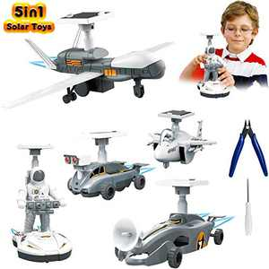 MAGIC4U Solar Toys, 5 in 1 Educational Kids Learning Building Tools Stem Science Kits Space Moon Exploration Solar Robot Kit Toys Walking Robot Planes Cars for Kids Teens and Age 8 Years Old Up