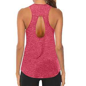 Workout Tops for Women, O-Neck Sleeveless Breathable Backless Tank, Gym Exercise Athletic Yoga Tops (M, Red)