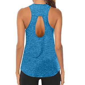 Workout Tops for Women, O-Neck Sleeveless Breathable Backless Tank, Gym Exercise Athletic Yoga Tops (XXL, Blue)